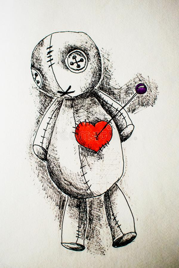 Illustration of voodoo doll with black handle with heart. Illustration of a voodoo doll in the black pen with a red heart. a needle in the heart royalty free stock images