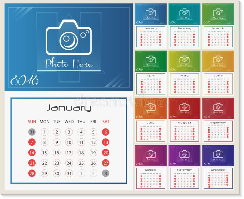 Wall Calendar For 2018 Year Design Template With Place For Photo