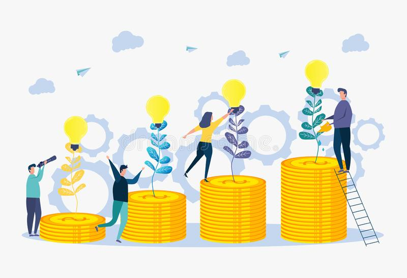 Illustration for wallpapers, banners, background, book illustration and webpage. Growth in business. Business team The metaphor of business success vector illustration