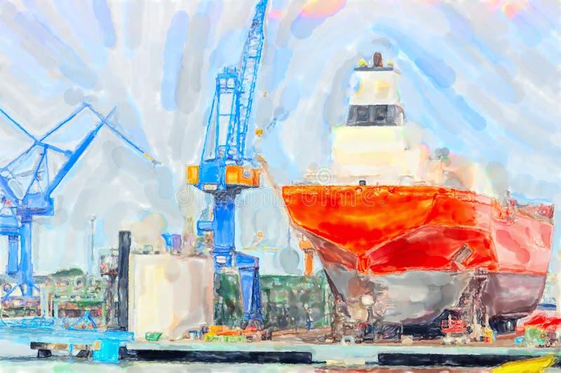 Illustration of Warnemunde shipyard at Rockstock harbor. Canes around the industrial ship. Illustration of Warnemunde shipyard at Rockstock Baltic sea harbor vector illustration