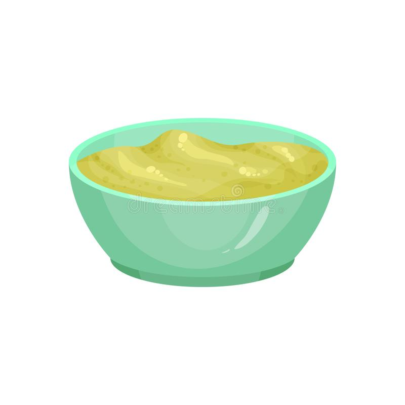 Illustration of wasabi in ceramic dip bowl. Japanese condiment. Spicy paste for sushi or raw fish. Traditional element vector illustration