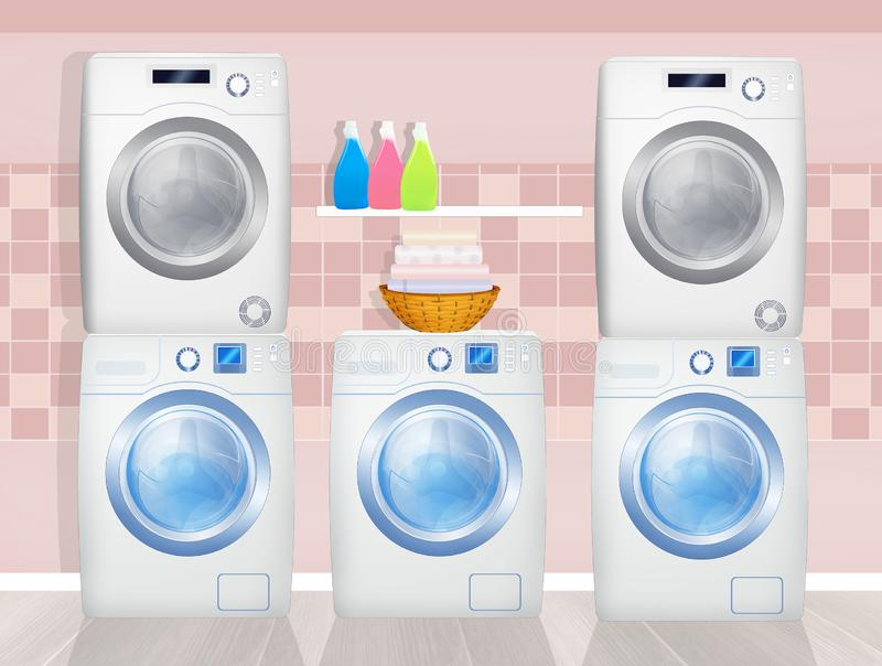 Washing machines and washer-dryers in the laundry room. Illustration of washing machines and washer-dryers in the laundry room stock illustration