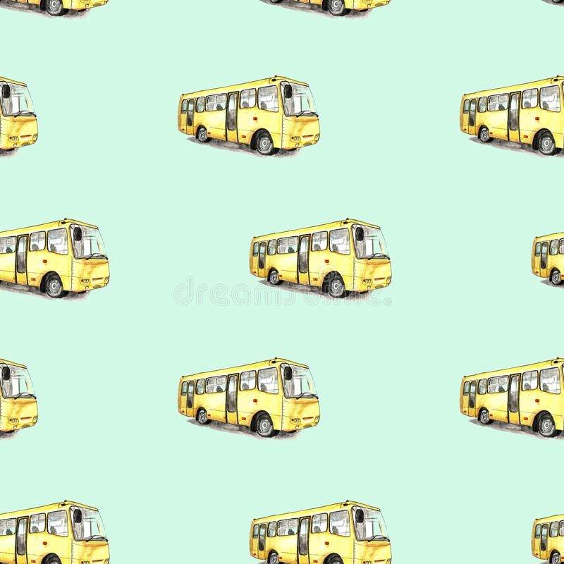 Illustration of watercolor bus pattern. On blue background stock illustration