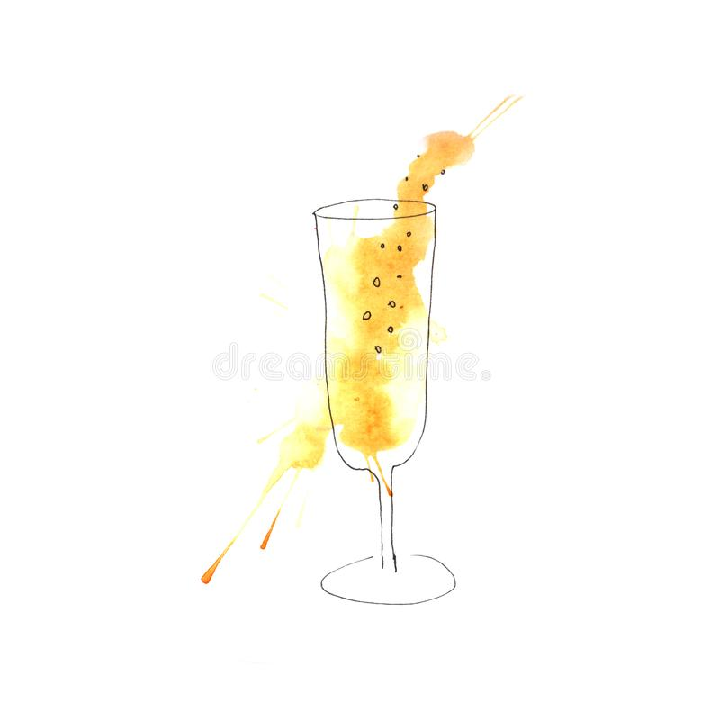 Illustration of watercolor champagne royalty free illustration