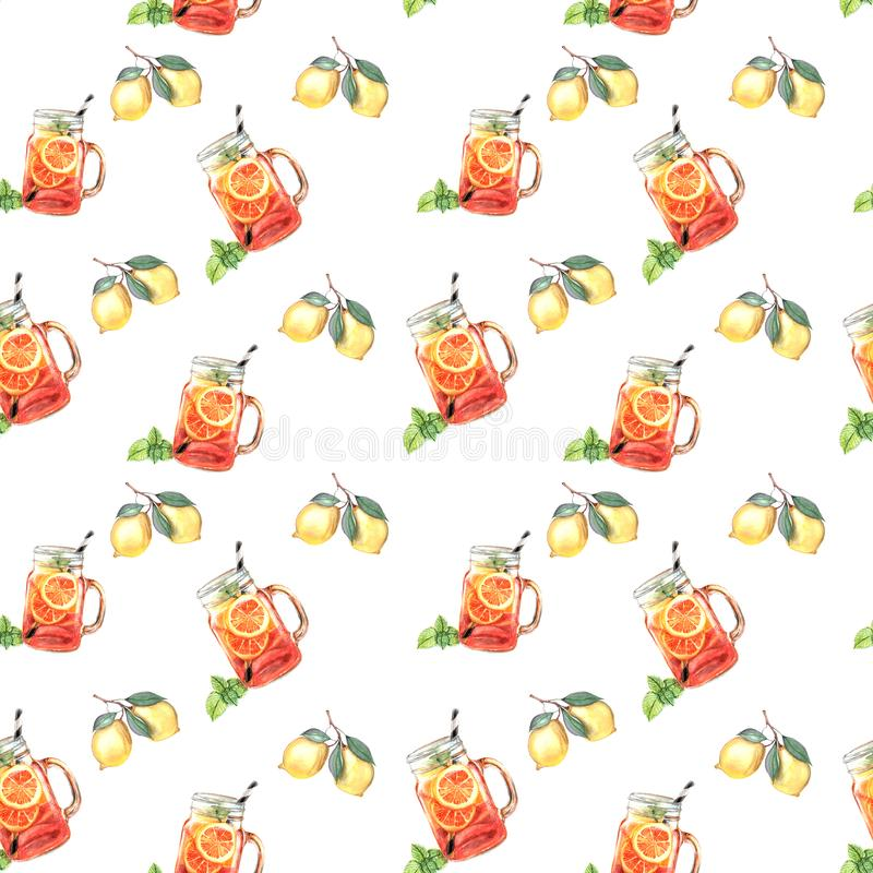 Illustration of watercolor fruit juice pattern stock illustration