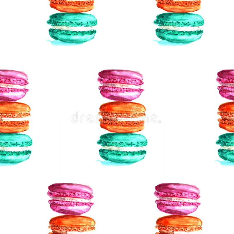 Illustration watercolor pattern macaroons royalty free illustration