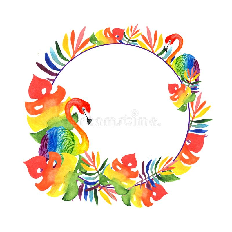 Illustration watercolor, round frame of tropical leaves and two rainbow-colored flamingos royalty free stock photos
