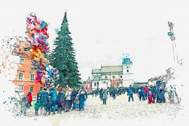 Illustration or watercolor sketch. Christmas tree on the main square of Warsaw. People celebrate Christmas vector illustration