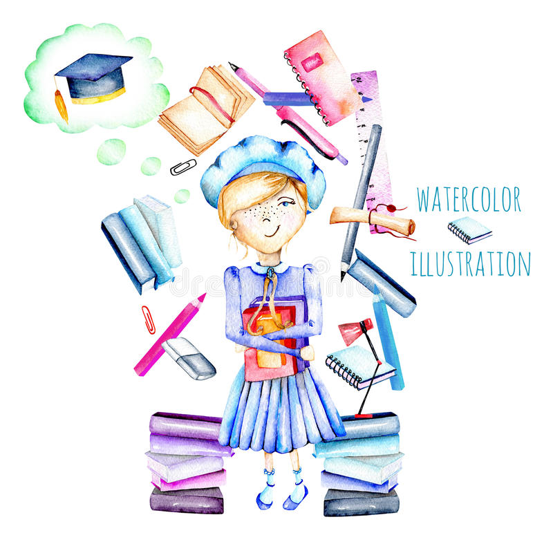 Illustration of watercolor smart schoolgirl, books and stationery objects. Hand painted isolated on a white background vector illustration