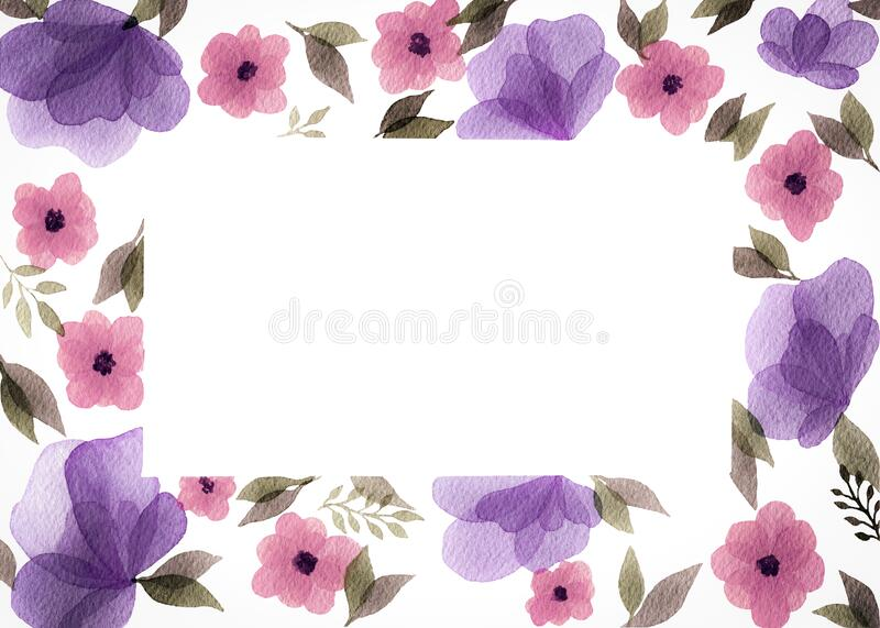 Watercolor vintage floral frame, mothers day background with flower border decoration, spring floral border with copy space for te. Illustration of watercolor vector illustration
