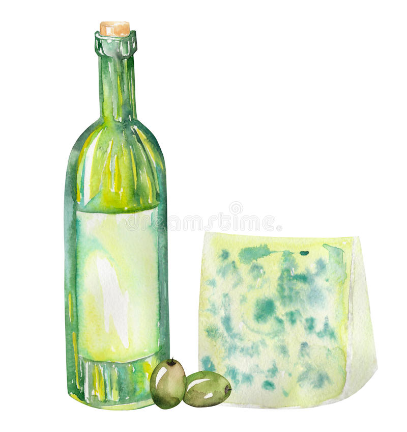 An illustration of the watercolor wine bottle, blue cheese and green olives. Painted hand-drawn in a watercolor on a white backgro royalty free illustration