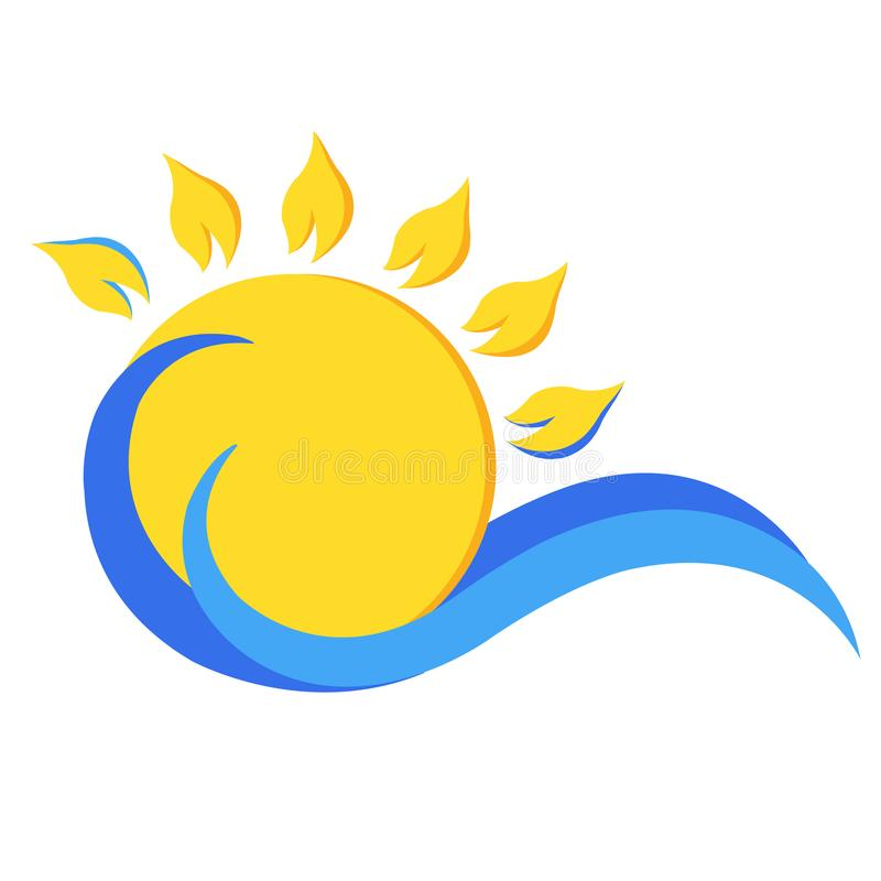Wave and sun logo. stock illustration