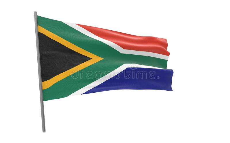 Flag of South Africa. Illustration of a waving flag of South Africa. 3d rendering stock illustration