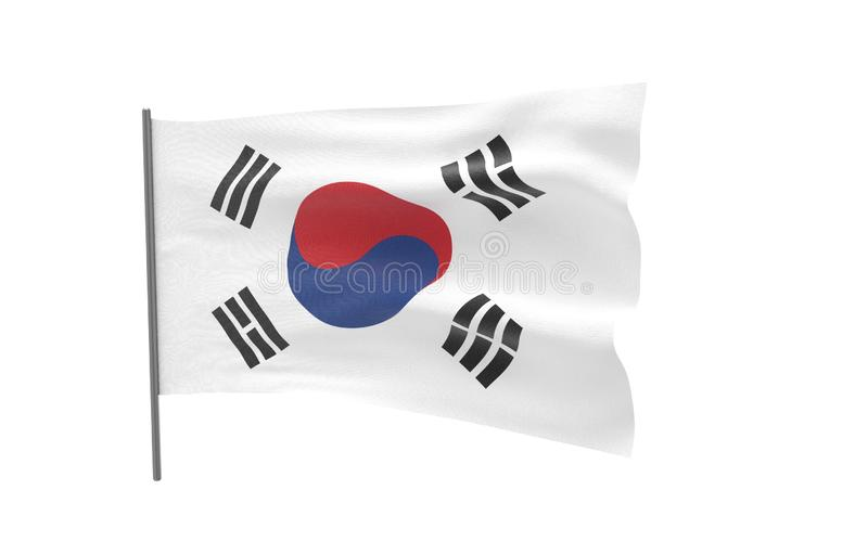 Flag of South Korea. Illustration of a waving flag of South Korea. 3d rendering stock images