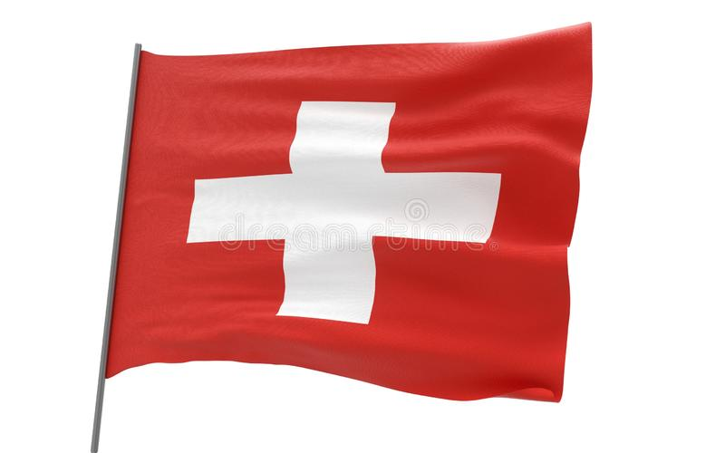 Flag of Switzerland. Illustration of a waving flag of Switzerland. 3d rendering stock images