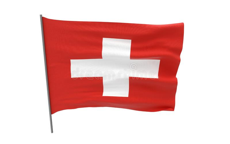 Flag of Switzerland. Illustration of a waving flag of Switzerland. 3d rendering stock image