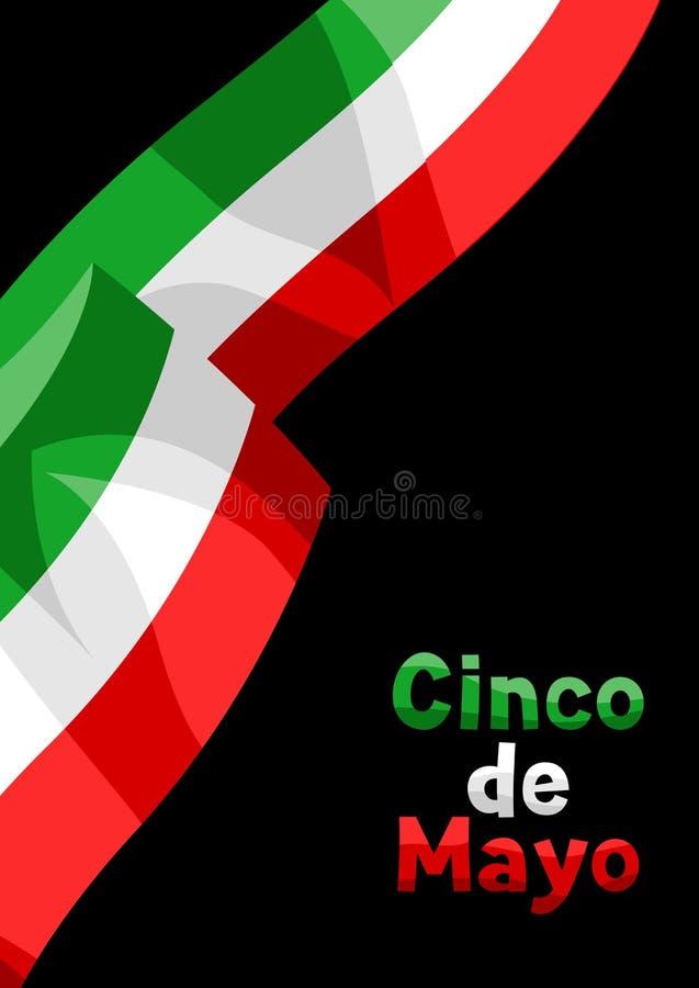 Illustration of waving mexican flag. vector illustration