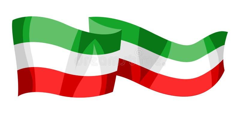 Illustration of waving mexican flag. stock illustration