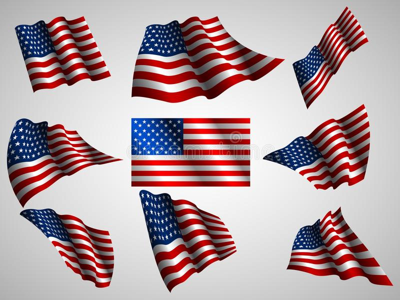 Illustration of waving USA flag, isolated flag icon. Vector set stock illustration