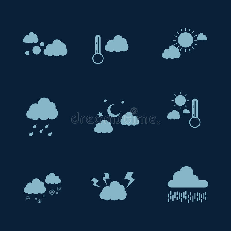 Illustration of weather icon set vector flat stock illustration