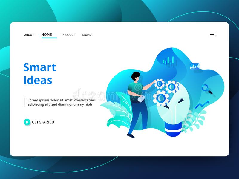 Illustration. Web page design templates for Smart Ideas. Concepts for website and mobile app development. Modern style vector illustration, abstract, background royalty free illustration
