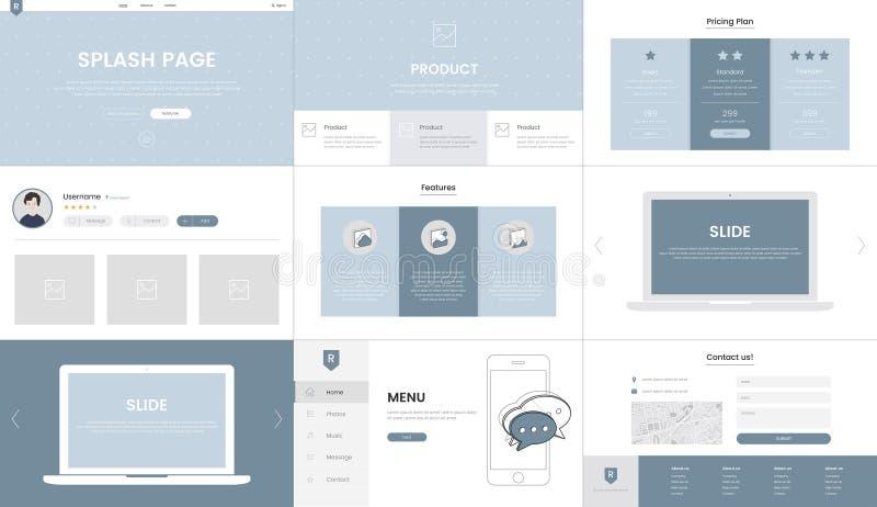 Illustration of website elements for web design vector illustration