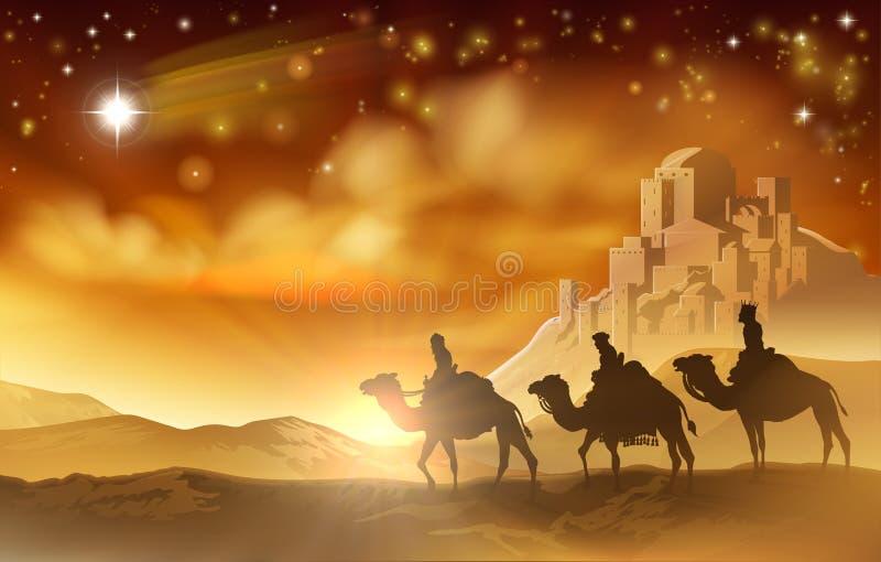 Illustration weisen Männer der Geburt Christis-des Weihnachtendrei lizenzfreie abbildung