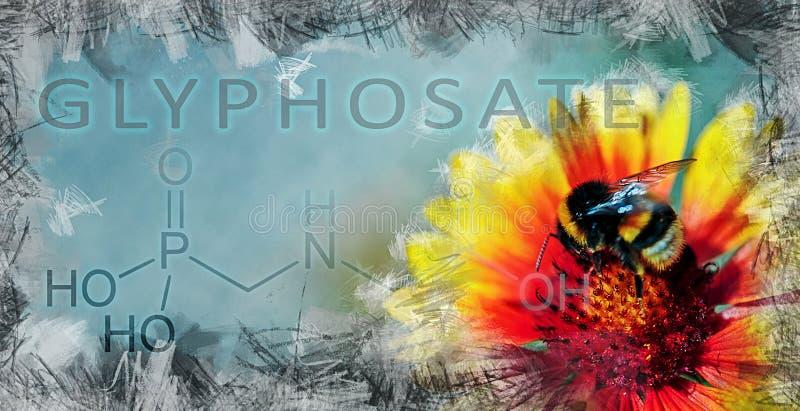 Illustration, welche die Auswirkung des Glyphosats auf biologische Vielfalt zeigt stockfoto