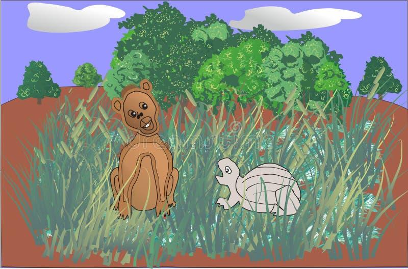 Illustration wenig simba und Schildkrötenkarikatur lizenzfreie stockfotografie