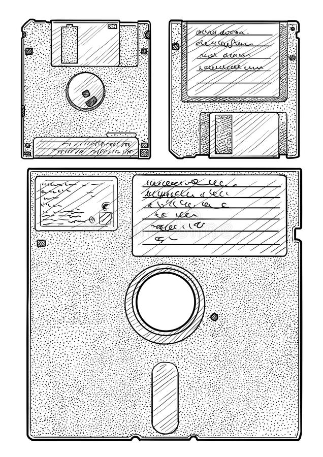 Floppy disk illustration, drawing, engraving, ink, line art, vector vector illustration
