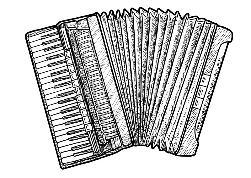 Accordion illustration, drawing, engraving, ink, line art, vector. Illustration, what made by ink and pencil, then it was digitalized royalty free illustration