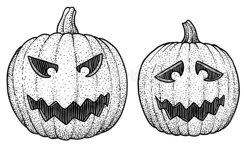 Halloween pumpkin head illustration, drawing, engraving, ink, line art, vector vector illustration