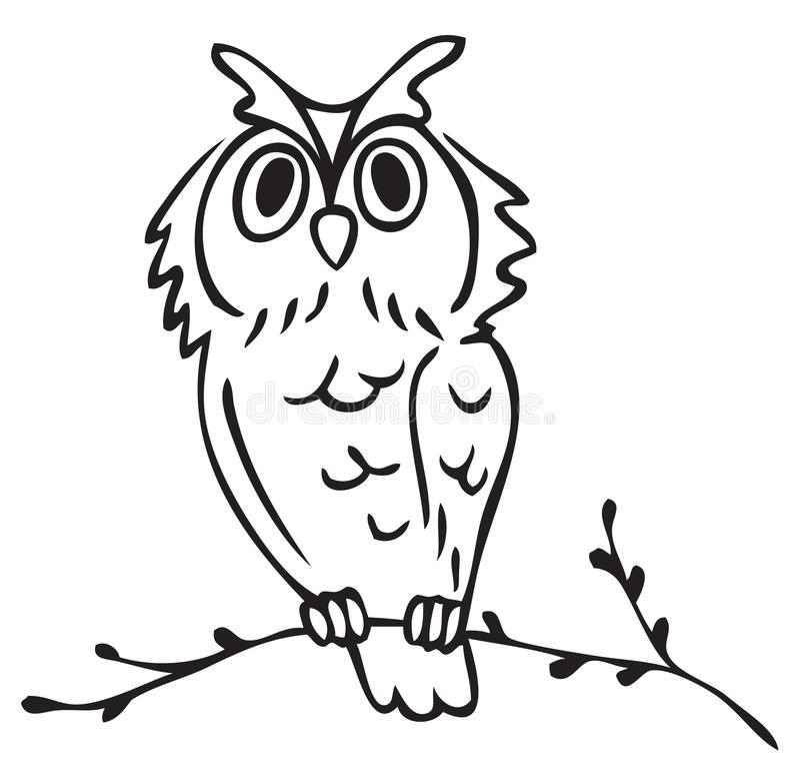 Illustration owl on tree branch stock illustration