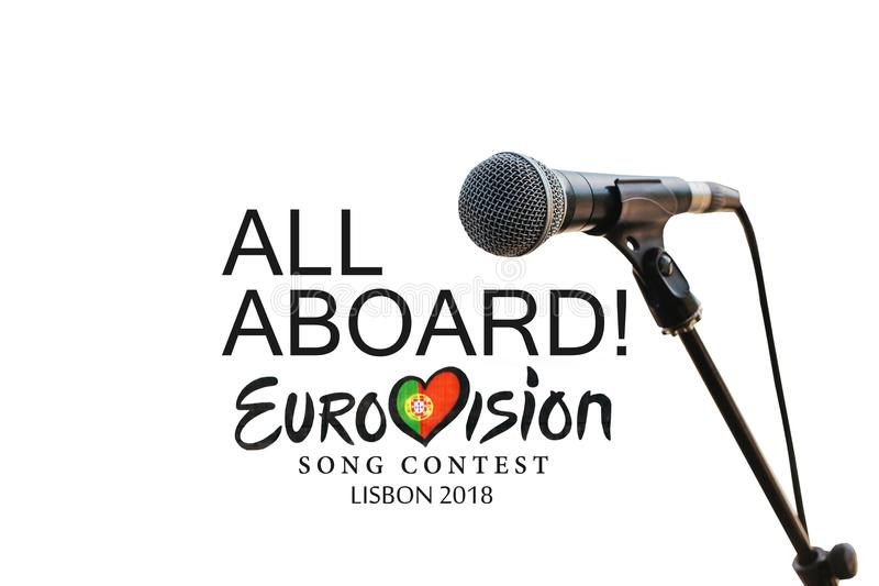 Illustration on white background Eurovision Song Contest 2018 Lisbon.  stock images