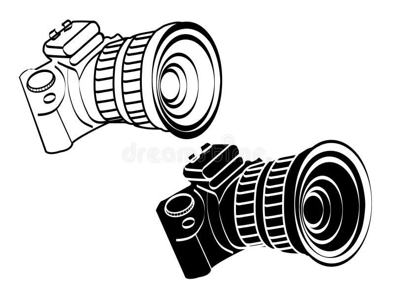 Illustration white and black vintage camera icon vector art. Illustration white and black vintage camera icon vector art symbol object isolated stock illustration