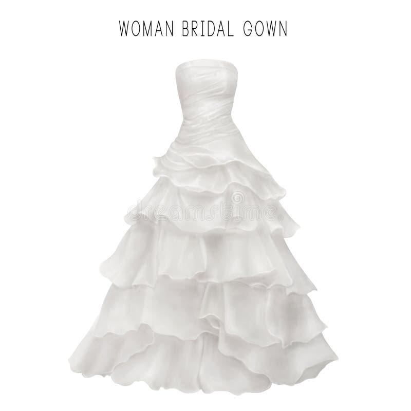 Illustration of white bridal gown stock illustration