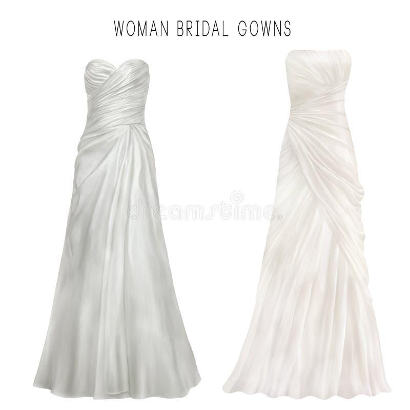 Illustration of white bridal gown vector illustration