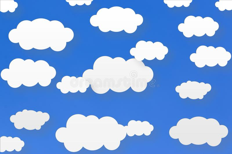 Abstract Scattered White Clouds in Blue Sky Background vector illustration