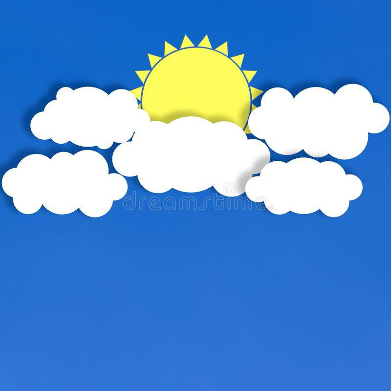 Abstract White Clouds and Yellow Sun in Blue Background stock illustration