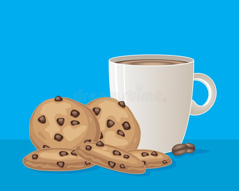Cookies and coffee on a turquoise background stock illustration