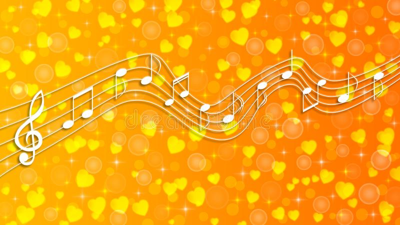 White Music Notes, Bubbles, Sparkles and Hearts in Yellow and Orange Gradient Background stock images
