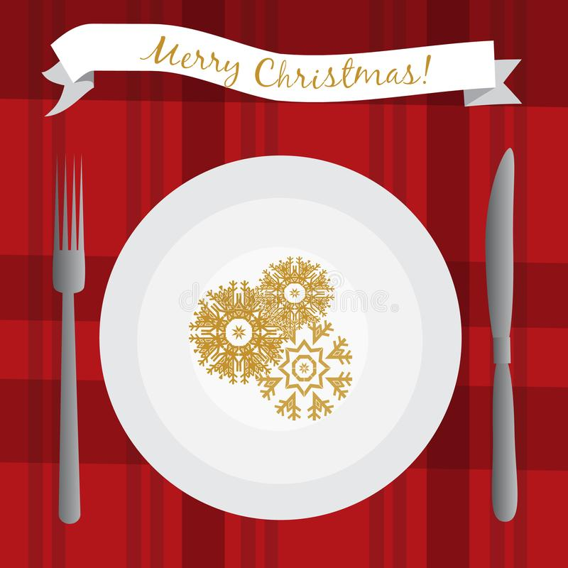 Illustration with white plate on the table. Christmas dinner table. stock illustration