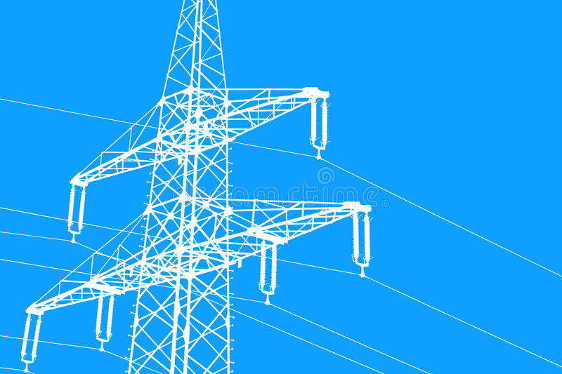 Illustration white silhouette of a power line blue background royalty free illustration