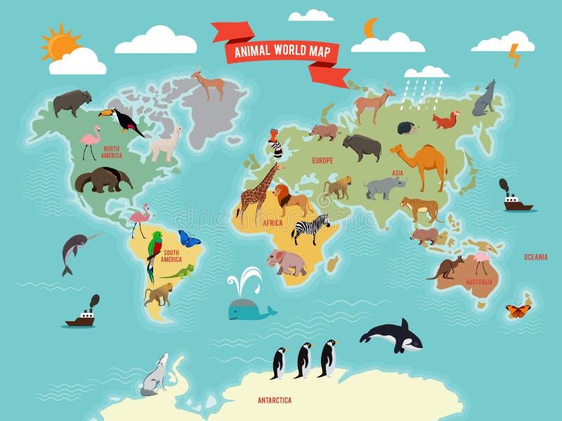 Illustration of wildlife animals on the world map. Vector illustrations set royalty free illustration