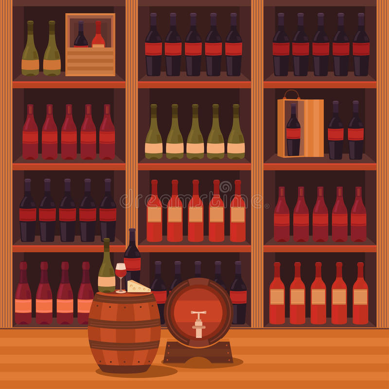 Illustration of a wine cellar. Vector illustration of a wine cellar. Collection of elements: wine bottle, wooden barrel, cheese, glass. Template for menu stock illustration