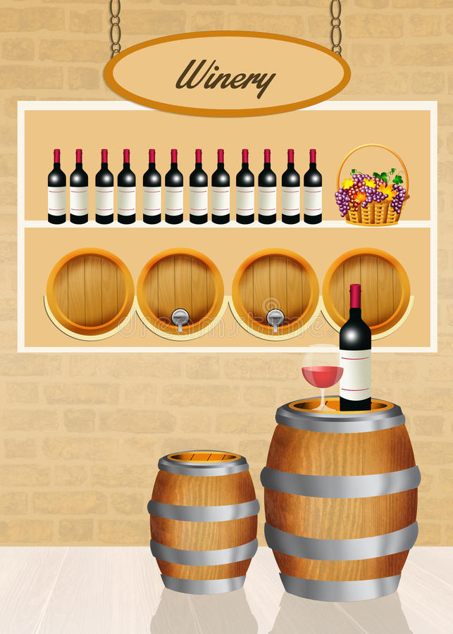 Illustration of winery. Illustration of wine barrels in the winery royalty free illustration