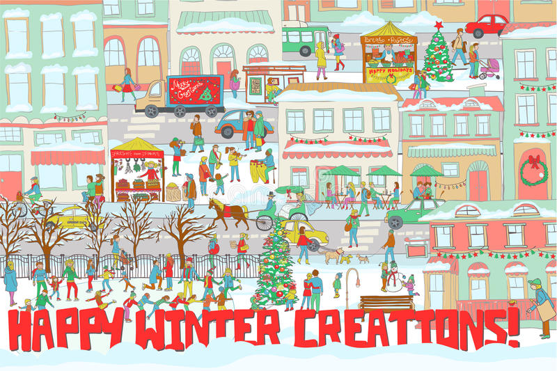 Illustration of a winter city with people ice skating, walking on a street, eating in a restaurant, playing violin and drums. royalty free illustration