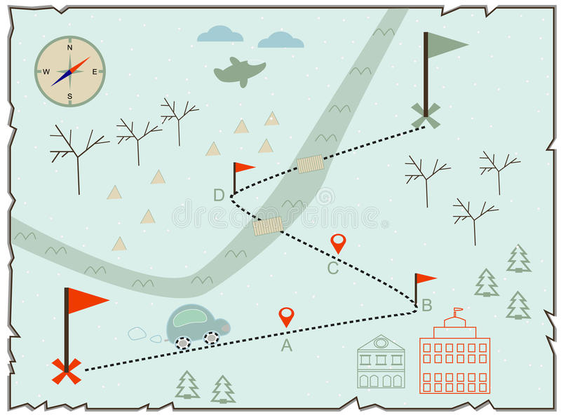 Illustration of the winter map to find treasure vector illustration
