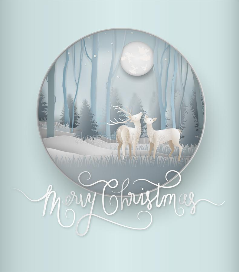 Illustration of winter season and beautiful of reindeer with pin. E forest woods landscape background. Merry christmas and new year greeting card concept. Paper stock illustration