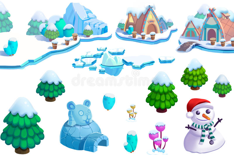 Illustration: Winter Snow Ice World Theme Elements Design Set 1. Game Assets. The House, The Tree, Ice, Snow, Snowman. royalty free illustration